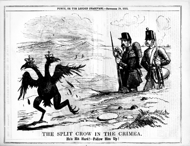 Британська карикатура ''Двоголова ворона у Криму''